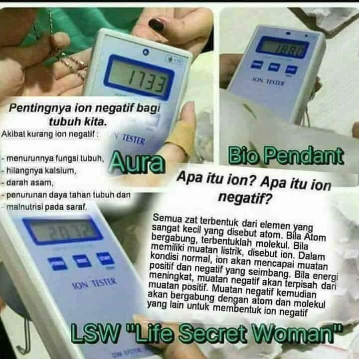 Ion negatif, pendant mci, pendant aura, BioPendant, life secret, kesehatan